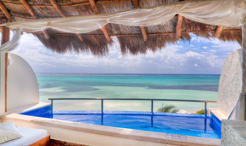 El Dorado Maroma Infinity Pool Jacuzzi Suite Balcony - bahamas beach wedding